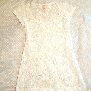 Rue 21 Cream Lace Shell Baby Doll tee